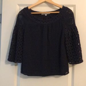 Navy blue cutout blouse